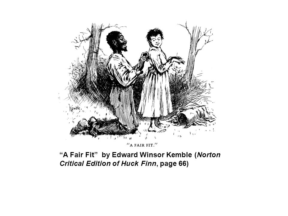 A Fair Fit by Edward Winsor Kemble (Norton Critical Edition of Huck Finn, page 66)