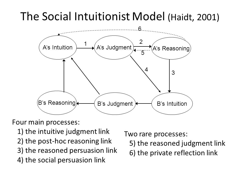 The Social Intuitionist Model (Haidt, 2001) A's IntuitionA's Judgment A's Reasoning B's IntuitionB's Judgment B's Reasoning 2 3 4 1 Four main processes: 1) the intuitive judgment link 2) the post-hoc reasoning link 3) the reasoned persuasion link 4) the social persuasion link Two rare processes: 5) the reasoned judgment link 6) the private reflection link 5 6