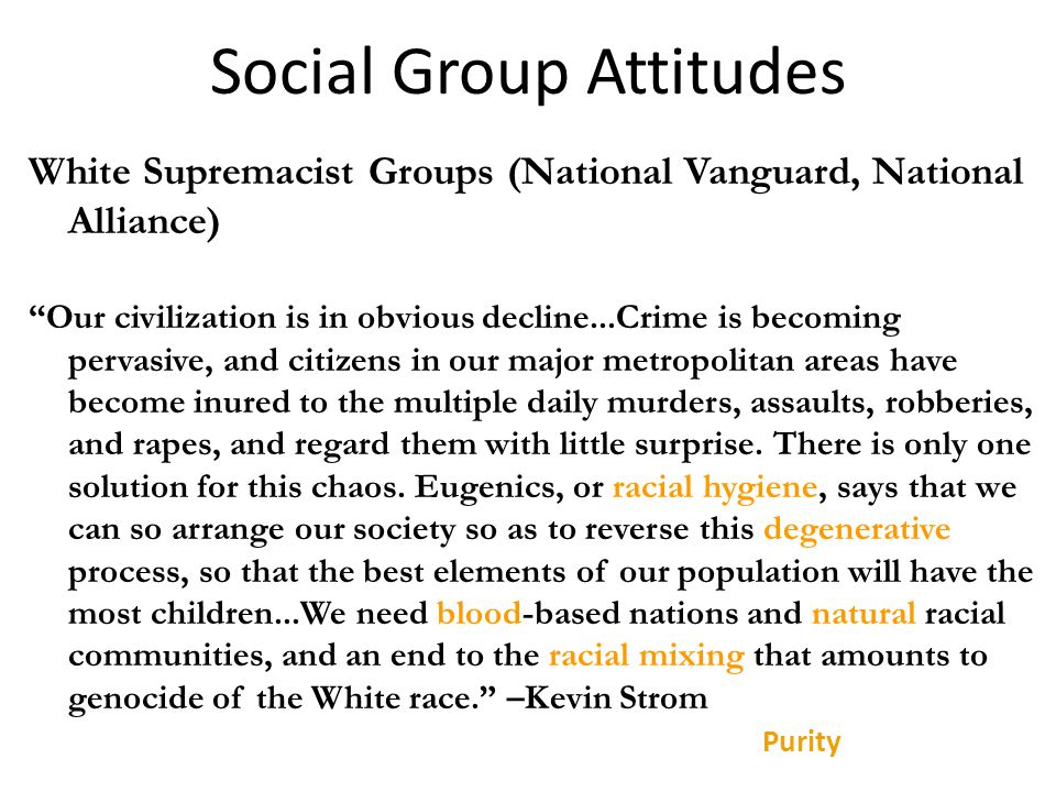 Social Group Attitudes White Supremacist Groups (National Vanguard, National Alliance) Our civilization is in obvious decline...Crime is becoming pervasive, and citizens in our major metropolitan areas have become inured to the multiple daily murders, assaults, robberies, and rapes, and regard them with little surprise.