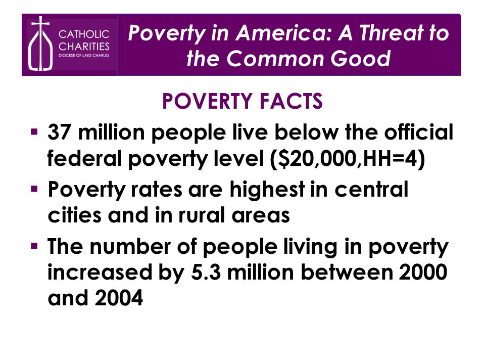Poverty in America: A Threat to the Common Good POVERTY FACTS  37 million people live below the official federal poverty level ($20,000,HH=4)  Poverty rates are highest in central cities and in rural areas  The number of people living in poverty increased by 5.3 million between 2000 and 2004