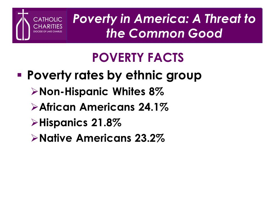 POVERTY FACTS  Poverty rates by ethnic group  Non-Hispanic Whites 8%  African Americans 24.1%  Hispanics 21.8%  Native Americans 23.2% Poverty in America: A Threat to the Common Good