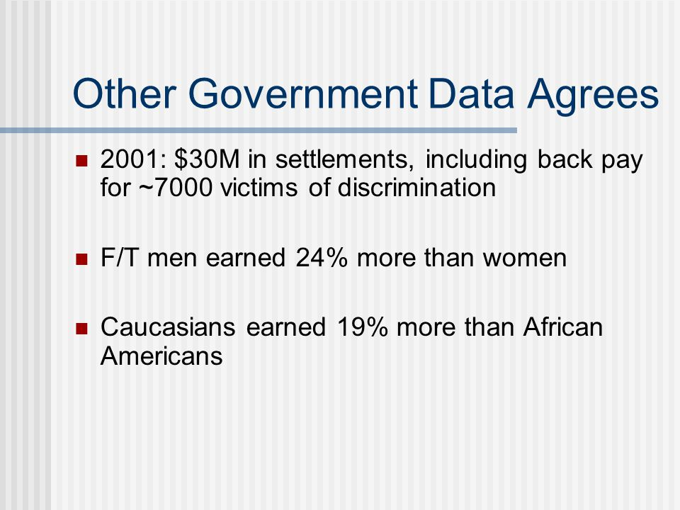 Other Government Data Agrees 2001: $30M in settlements, including back pay for ~7000 victims of discrimination F/T men earned 24% more than women Cauc