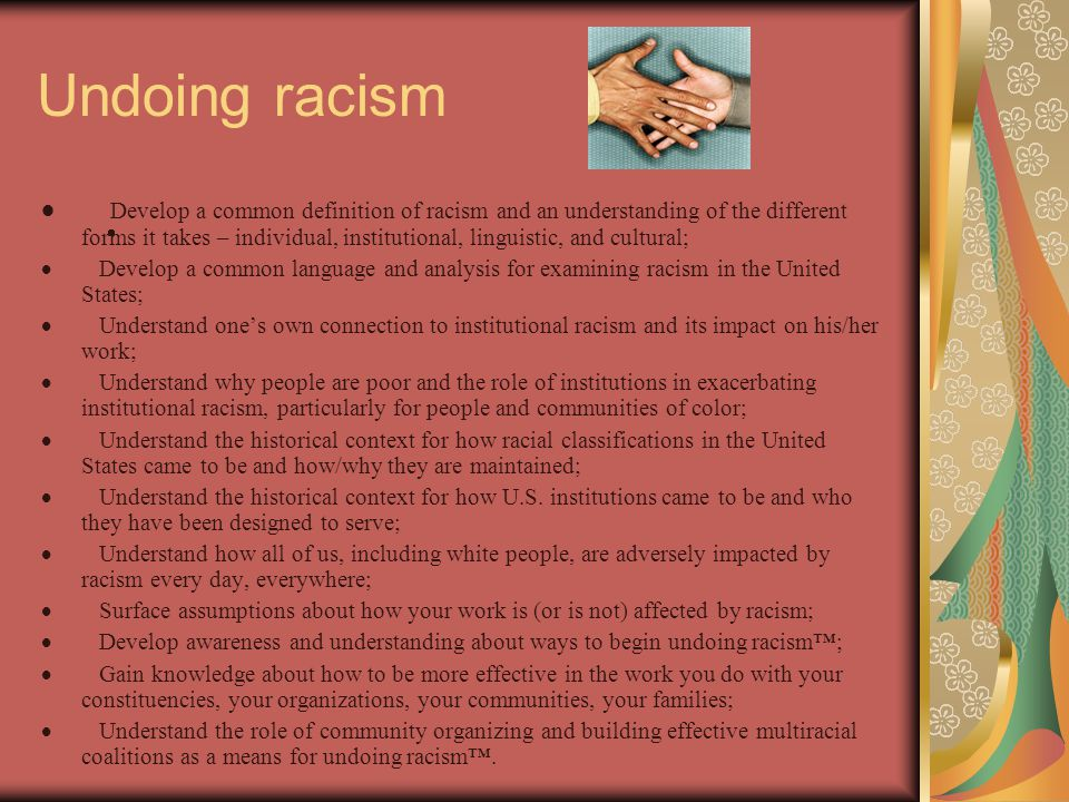 Undoing racism  Develop a common definition of racism and an understanding of the different forms it takes – individual, institutional, linguistic, a