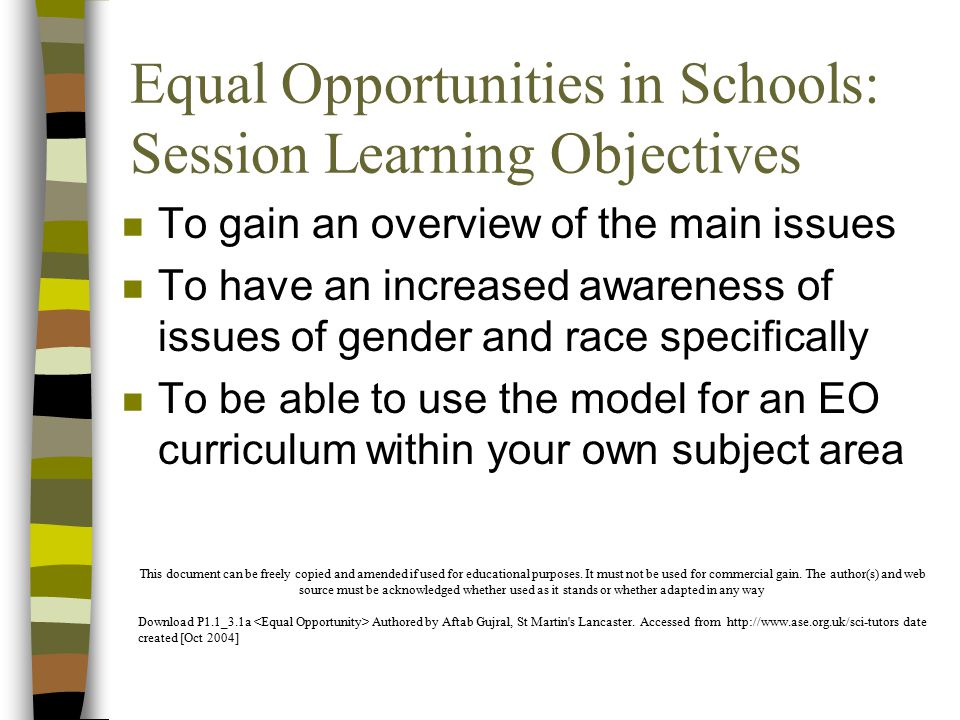 Equal Opportunities in Schools: Session Learning Objectives n To gain an overview of the main issues n To have an increased awareness of issues of gender and race specifically n To be able to use the model for an EO curriculum within your own subject area This document can be freely copied and amended if used for educational purposes.