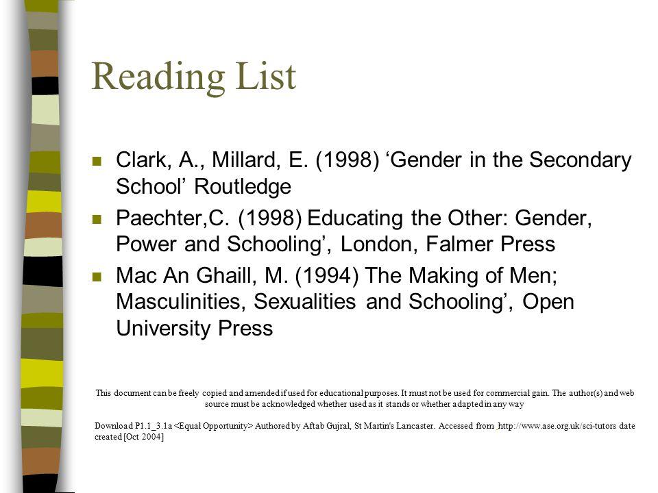 Reading List n Clark, A., Millard, E.