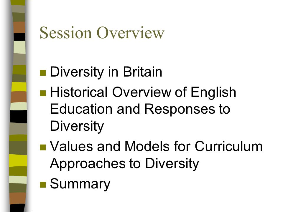Session Overview n Diversity in Britain n Historical Overview of English Education and Responses to Diversity n Values and Models for Curriculum Approaches to Diversity n Summary