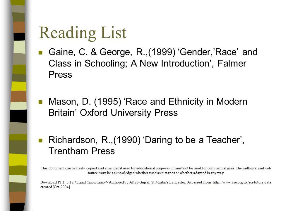 Reading List n Gaine, C.