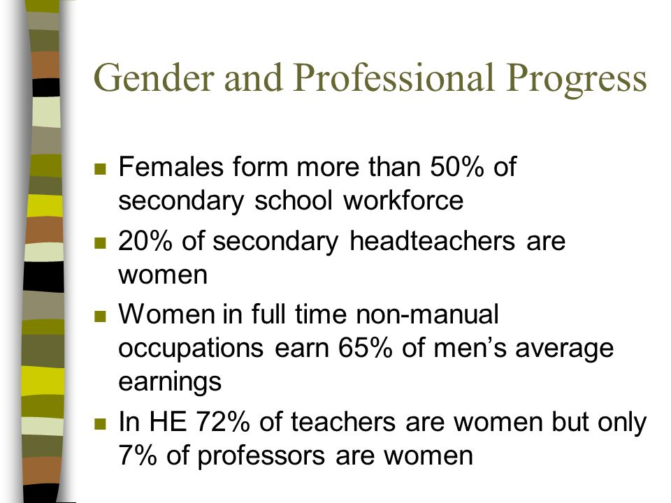 Gender and Professional Progress n Females form more than 50% of secondary school workforce n 20% of secondary headteachers are women n Women in full time non-manual occupations earn 65% of men's average earnings n In HE 72% of teachers are women but only 7% of professors are women
