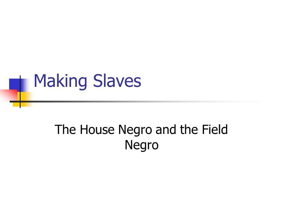 Making Slaves The House Negro and the Field Negro