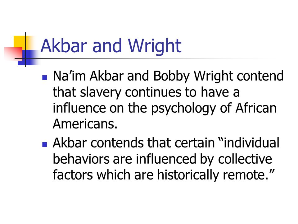Akbar and Wright Na'im Akbar and Bobby Wright contend that slavery continues to have a influence on the psychology of African Americans. Akbar contend