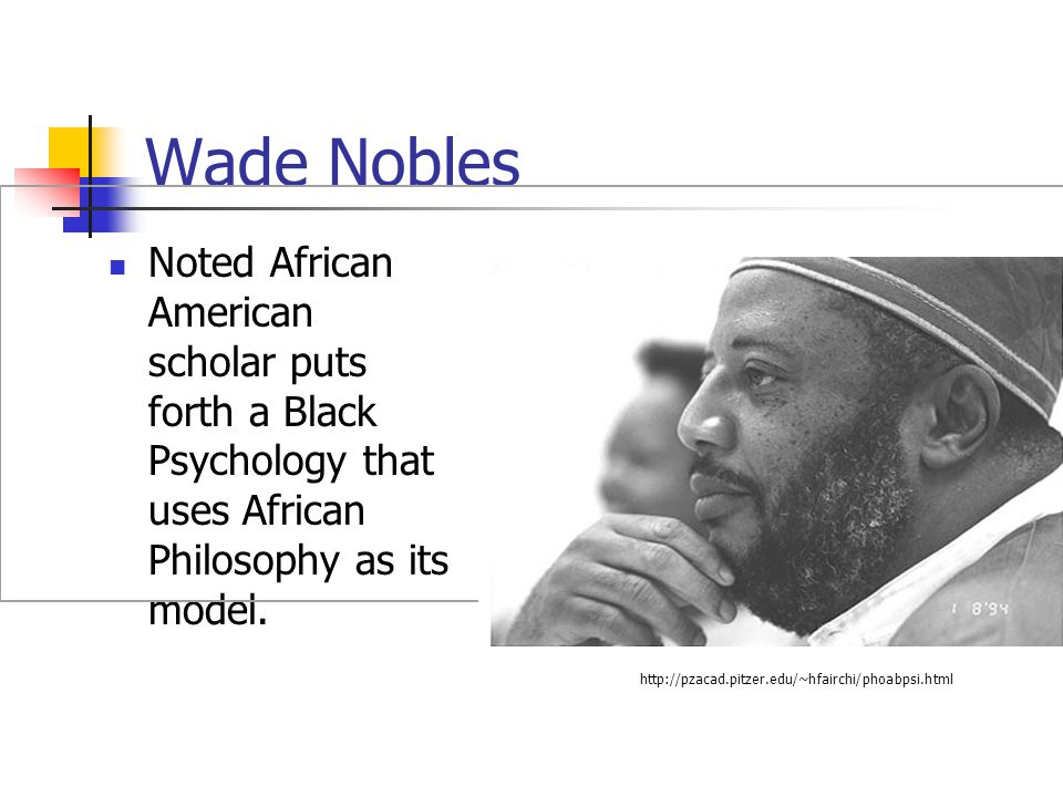 Wade Nobles Noted African American scholar puts forth a Black Psychology that uses African Philosophy as its model. http://pzacad.pitzer.edu/~hfairchi