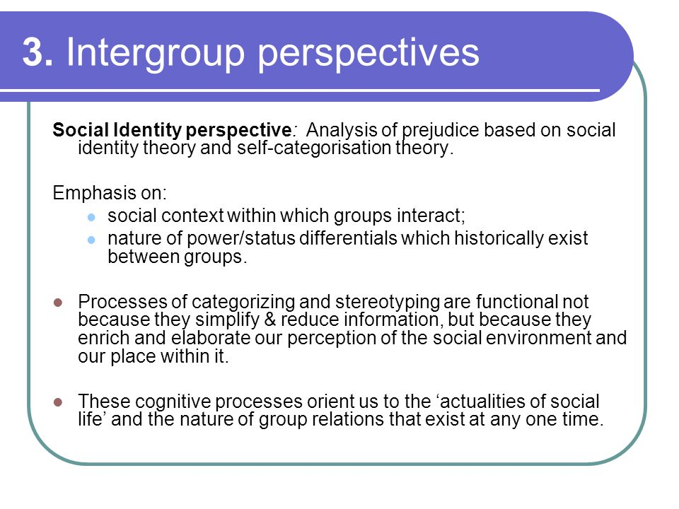 3. Intergroup perspectives Social Identity perspective: Analysis of prejudice based on social identity theory and self-categorisation theory. Emphasis