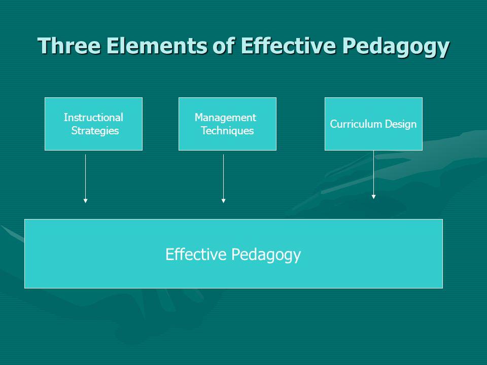 Three Elements of Effective Pedagogy Instructional Strategies Management Techniques Curriculum Design Effective Pedagogy