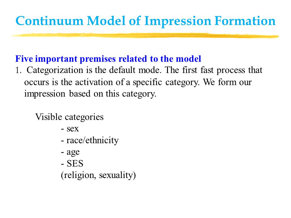 Five important premises related to the model 1. Categorization is the default mode.