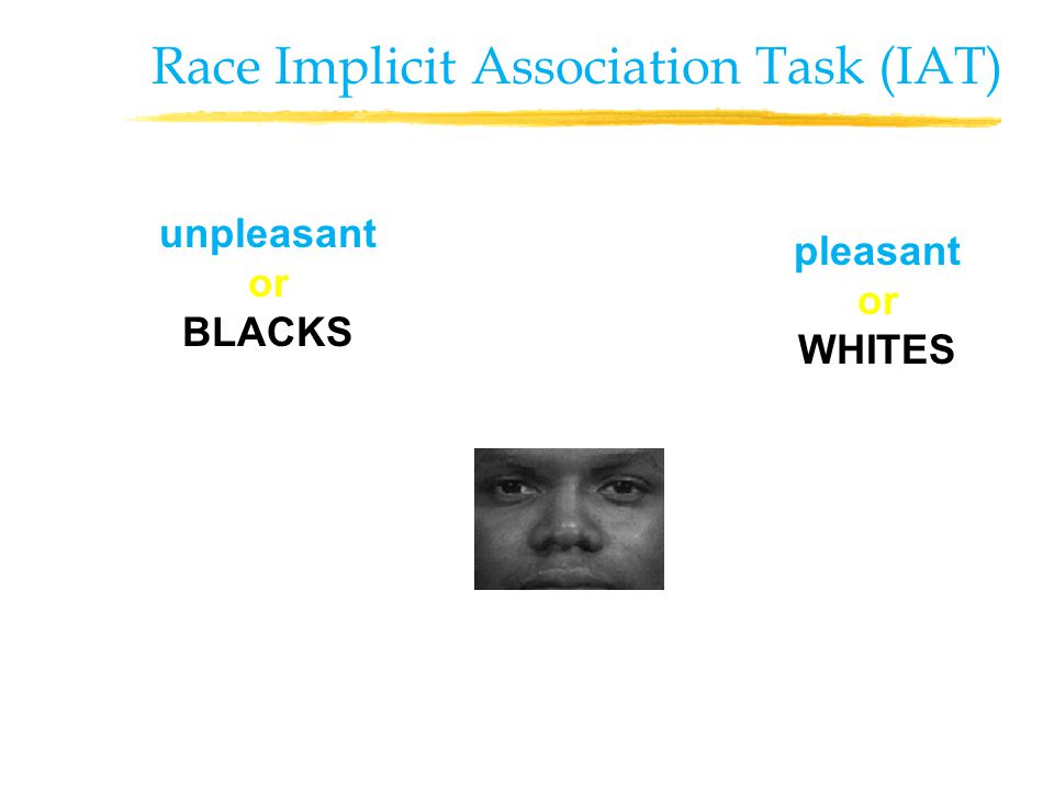 unpleasant or BLACKS pleasant or WHITES Race Implicit Association Task (IAT)