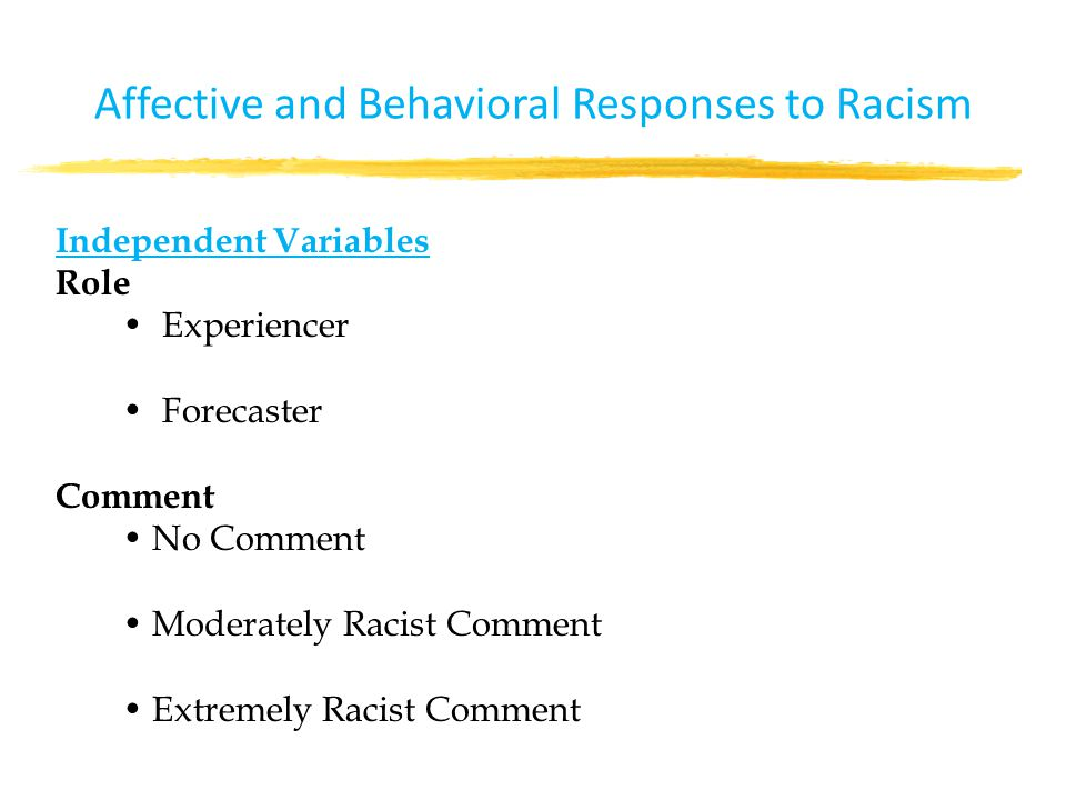 Independent Variables Role Experiencer Forecaster Comment No Comment Moderately Racist Comment Extremely Racist Comment Affective and Behavioral Responses to Racism