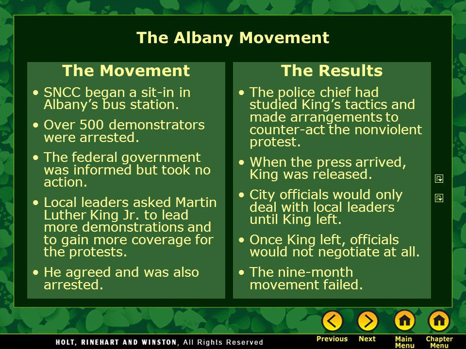 The Albany Movement The Movement SNCC began a sit-in in Albany's bus station. Over 500 demonstrators were arrested. The federal government was informe