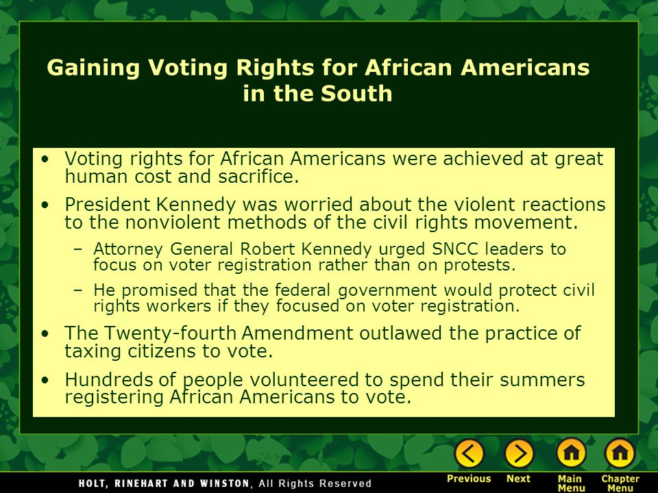 Gaining Voting Rights for African Americans in the South Voting rights for African Americans were achieved at great human cost and sacrifice. Presiden