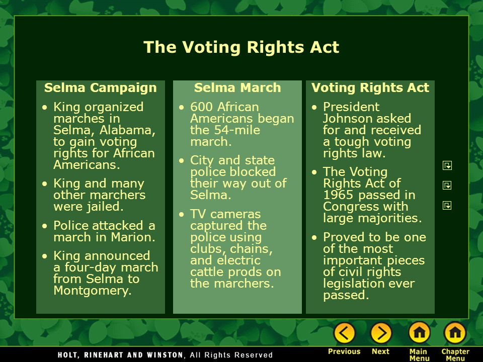 The Voting Rights Act Selma Campaign King organized marches in Selma, Alabama, to gain voting rights for African Americans. King and many other marche