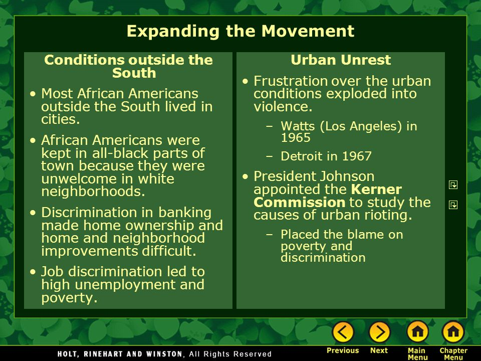 Expanding the Movement Conditions outside the South Most African Americans outside the South lived in cities. African Americans were kept in all-black