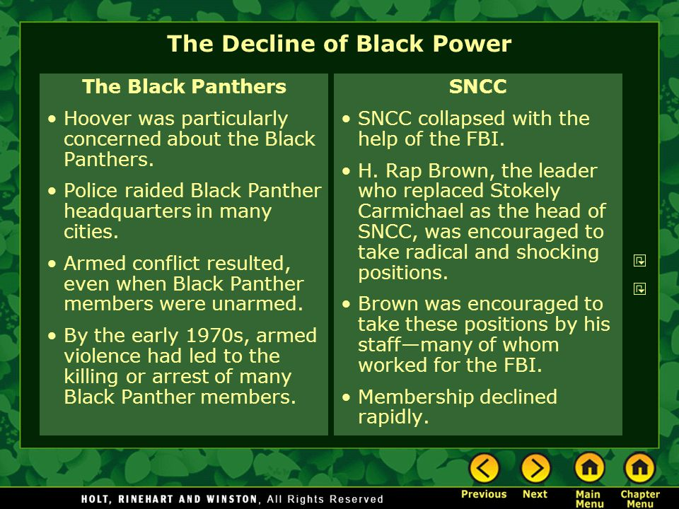 The Decline of Black Power The Black Panthers Hoover was particularly concerned about the Black Panthers. Police raided Black Panther headquarters in
