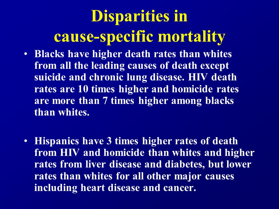 Disparities in cause-specific mortality Asians have lower death rates than whites in all categories except homicide.