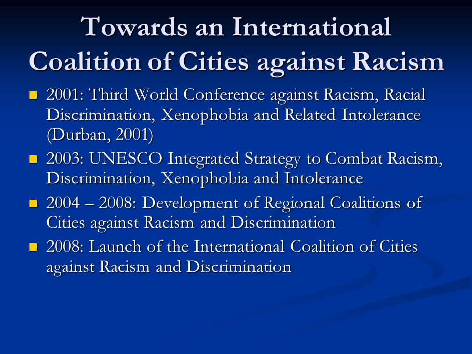 Towards an International Coalition of Cities against Racism 2001: Third World Conference against Racism, Racial Discrimination, Xenophobia and Related Intolerance (Durban, 2001) 2001: Third World Conference against Racism, Racial Discrimination, Xenophobia and Related Intolerance (Durban, 2001) 2003: UNESCO Integrated Strategy to Combat Racism, Discrimination, Xenophobia and Intolerance 2003: UNESCO Integrated Strategy to Combat Racism, Discrimination, Xenophobia and Intolerance 2004 – 2008: Development of Regional Coalitions of Cities against Racism and Discrimination 2004 – 2008: Development of Regional Coalitions of Cities against Racism and Discrimination 2008: Launch of the International Coalition of Cities against Racism and Discrimination 2008: Launch of the International Coalition of Cities against Racism and Discrimination