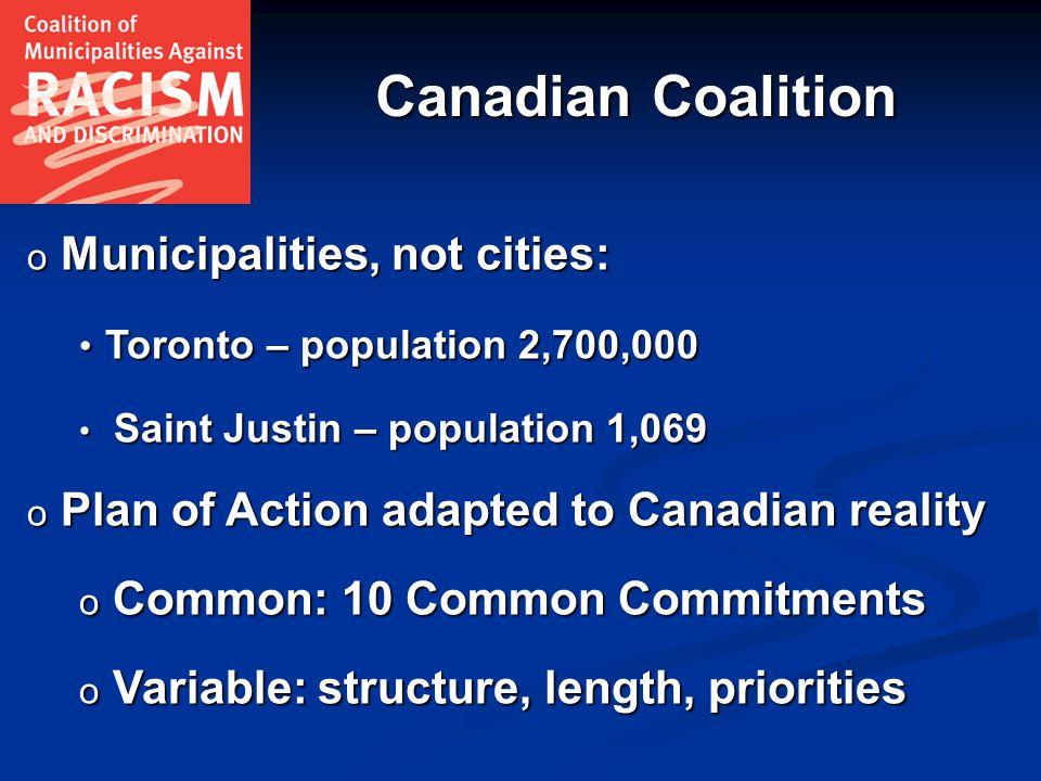 Canadian Coalition o Municipalities, not cities: Toronto – population 2,700,000 Toronto – population 2,700,000 Saint Justin – population 1,069 Saint J