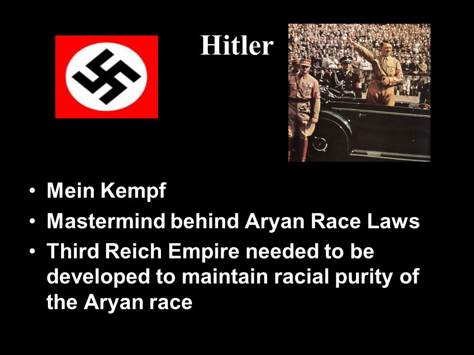 Hitler Mein Kempf Mastermind behind Aryan Race Laws Third Reich Empire needed to be developed to maintain racial purity of the Aryan race