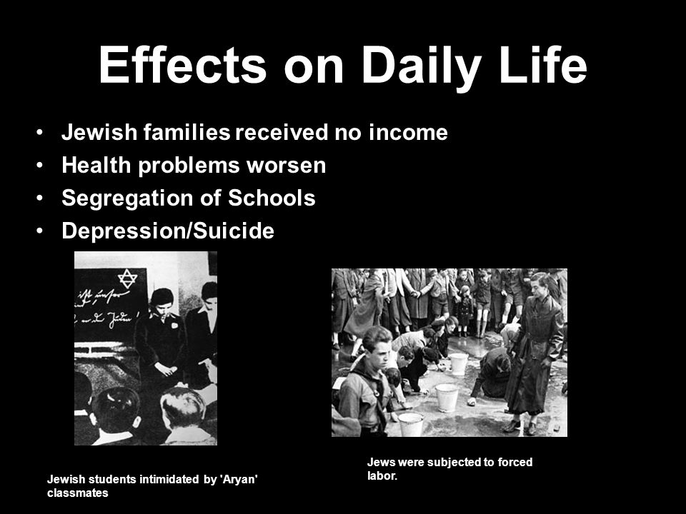 Effects on Daily Life Jewish families received no income Health problems worsen Segregation of Schools Depression/Suicide Jewish students intimidated by Aryan classmates Jews were subjected to forced labor.