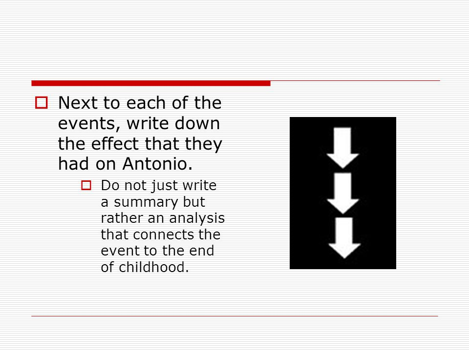  Next to each of the events, write down the effect that they had on Antonio.  Do not just write a summary but rather an analysis that connects the e