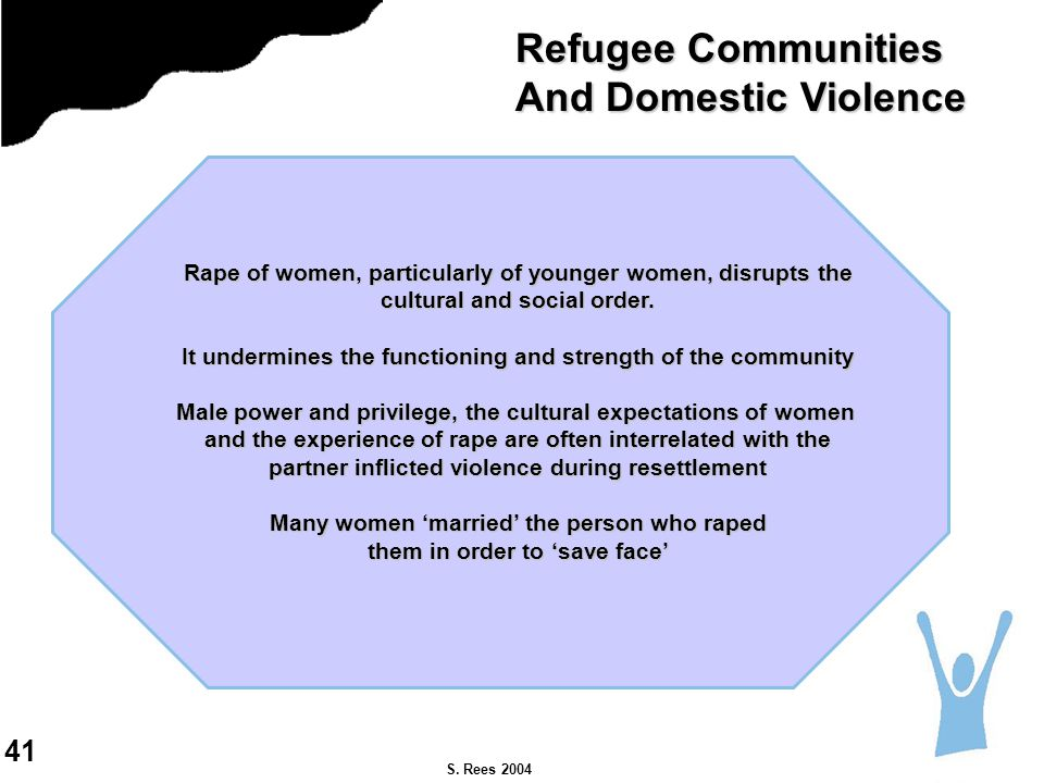 S. Rees 2004 Rape of women, particularly of younger women, disrupts the cultural and social order.