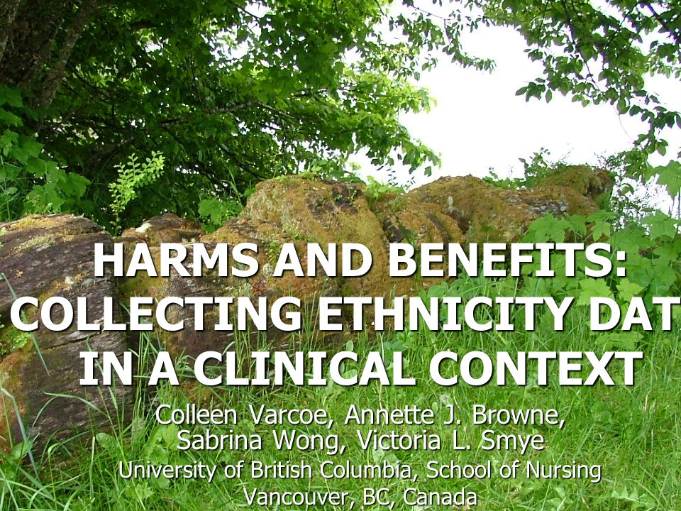 HARMS AND BENEFITS: COLLECTING ETHNICITY DATA IN A CLINICAL CONTEXT Colleen Varcoe, Annette J.