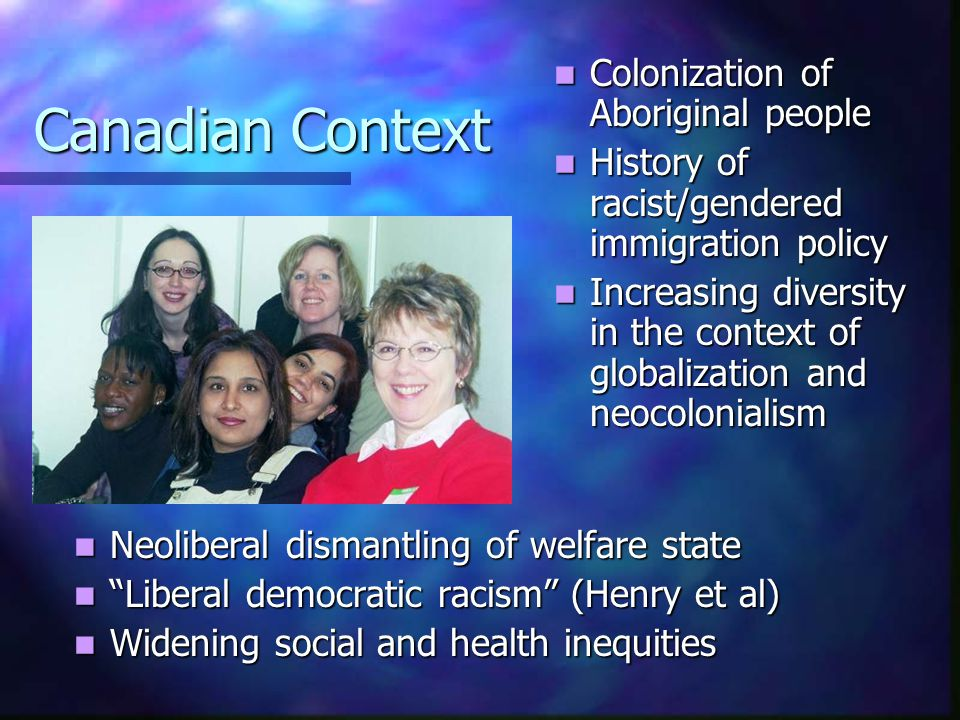 Canadian Context Colonization of Aboriginal people Colonization of Aboriginal people History of racist/gendered immigration policy History of racist/gendered immigration policy Increasing diversity in the context of globalization and neocolonialism Increasing diversity in the context of globalization and neocolonialism Neoliberal dismantling of welfare state Liberal democratic racism (Henry et al) Widening social and health inequities