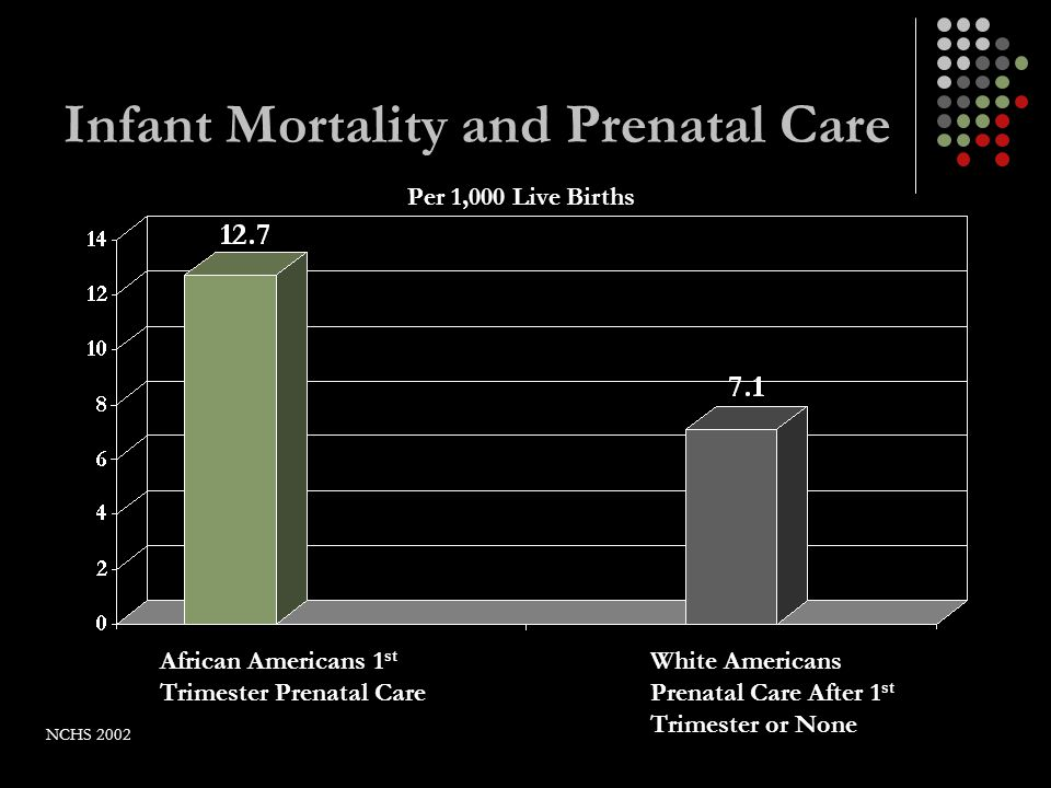 Infant Mortality and Prenatal Care African Americans 1 st Trimester Prenatal Care White Americans Prenatal Care After 1 st Trimester or None Per 1,000