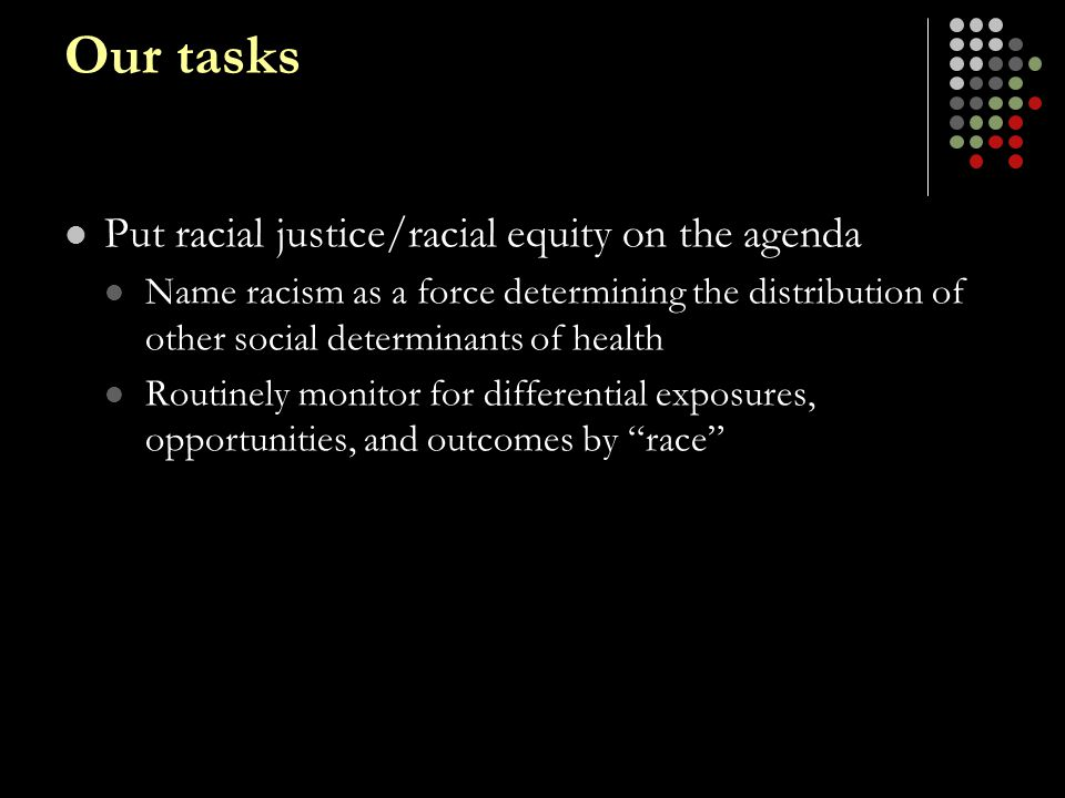 Our tasks Put racial justice/racial equity on the agenda Name racism as a force determining the distribution of other social determinants of health Ro