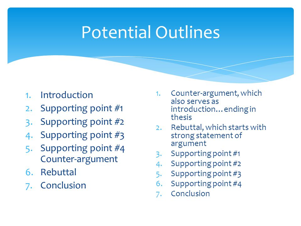 Potential Outlines 1.Introduction 2.Supporting point #1 3.Supporting point #2 4.Supporting point #3 5.Supporting point #4 Counter-argument 6.Rebuttal
