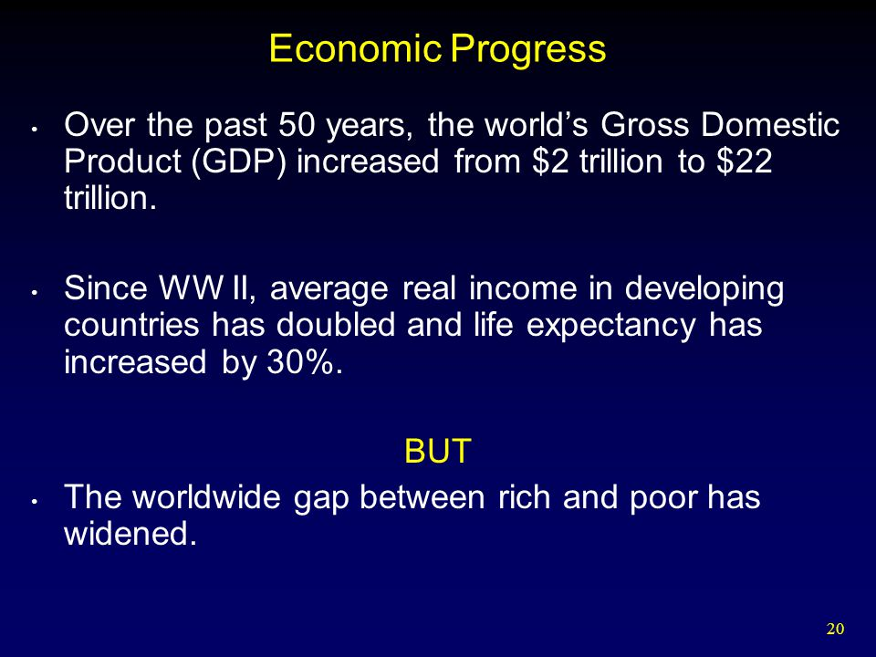 20 Economic Progress Over the past 50 years, the world's Gross Domestic Product (GDP) increased from $2 trillion to $22 trillion. Since WW II, average