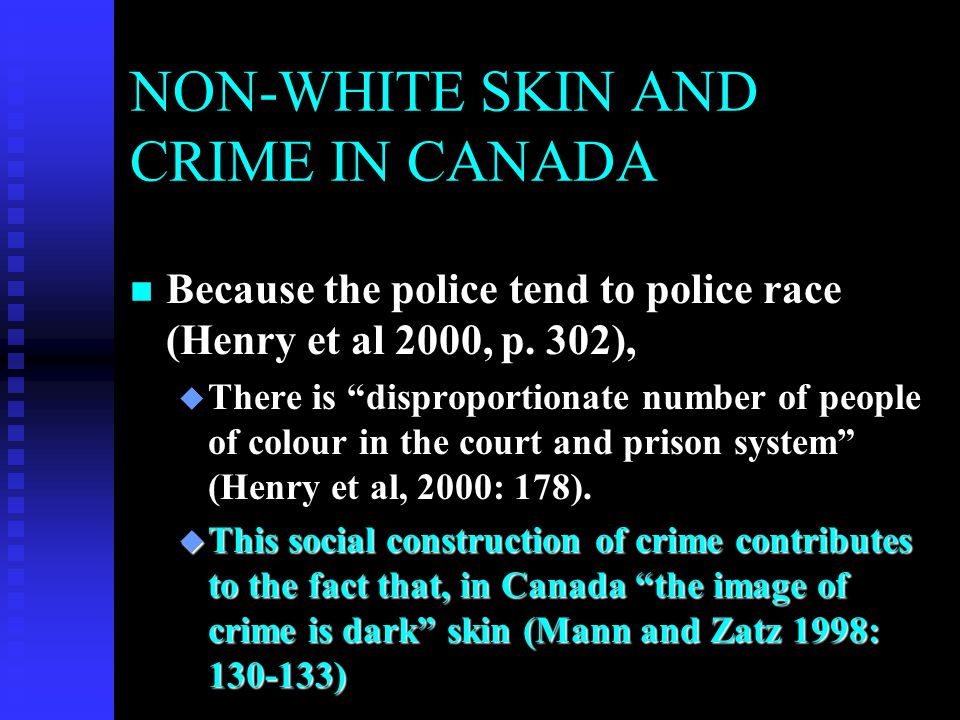 Blacks in the Canada's Justice System n Crawford, Alison, 2011, CBC News, December 2011 n (http://www.cbc.ca/news/politics/story/20 11/12/14/crawford-black-prison.html) http://www.cbc.ca/news/politics/story/20 11/12/14/crawford-black-prison.htmlhttp://www.cbc.ca/news/politics/story/20 11/12/14/crawford-black-prison.html % of Population% of Federal Jails% of Federal Jails in Ontario 2.5%9.12%20.0%