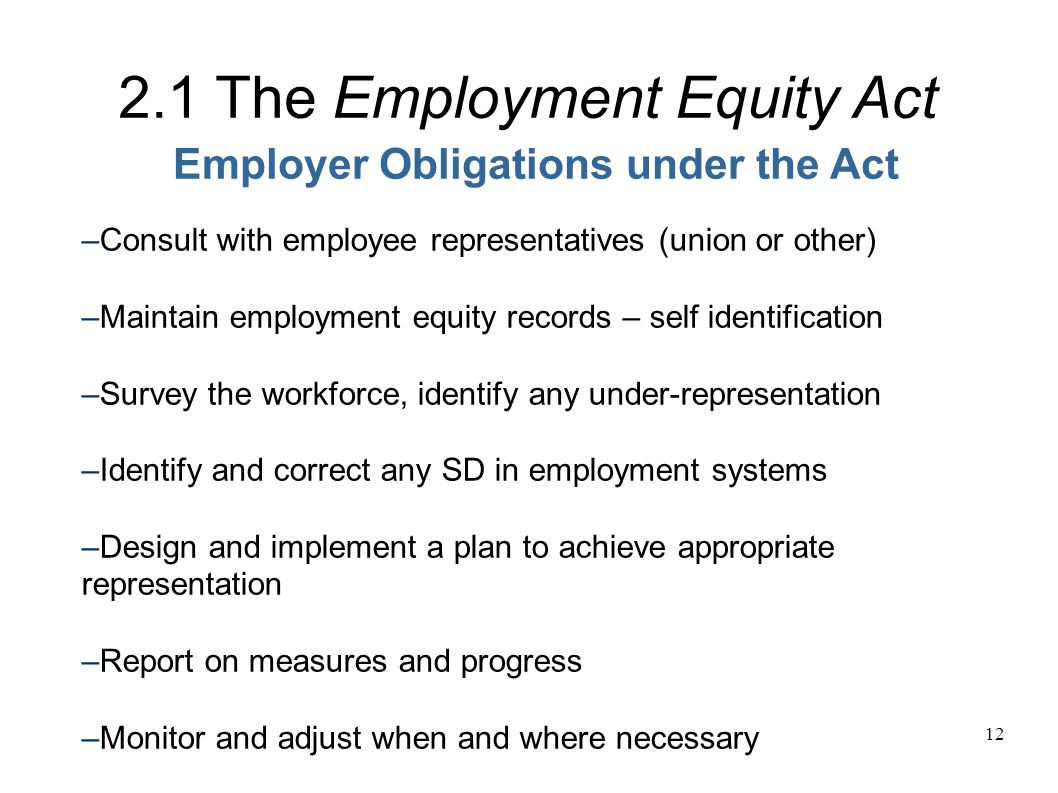 12 Employer Obligations under the Act 2.1 The Employment Equity Act –s–s – Consult with employee representatives (union or other) – Maintain employment equity records – self identification – Survey the workforce, identify any under-representation – Identify and correct any SD in employment systems – Design and implement a plan to achieve appropriate representation – Report on measures and progress – Monitor and adjust when and where necessary