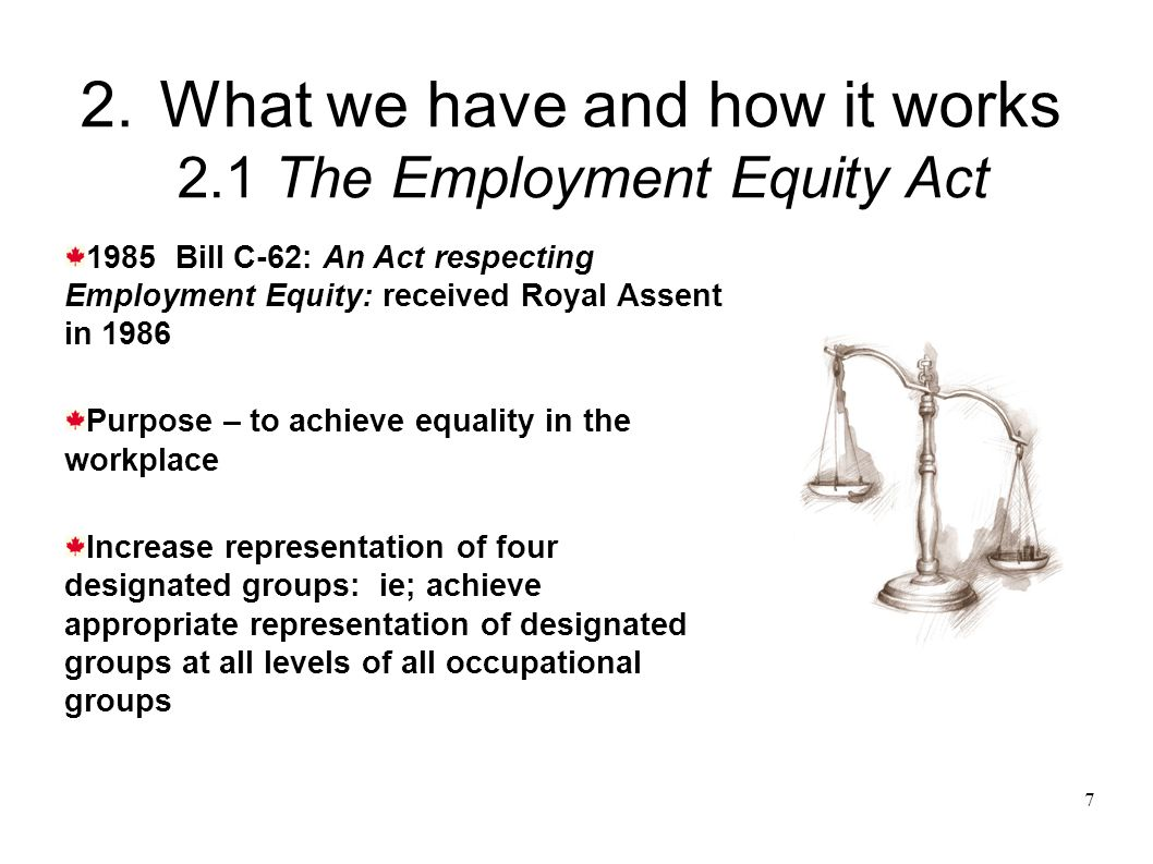 7 2.What we have and how it works 2.1 The Employment Equity Act 1985 Bill C-62: An Act respecting Employment Equity: received Royal Assent in 1986 Purpose – to achieve equality in the workplace Increase representation of four designated groups: ie; achieve appropriate representation of designated groups at all levels of all occupational groups