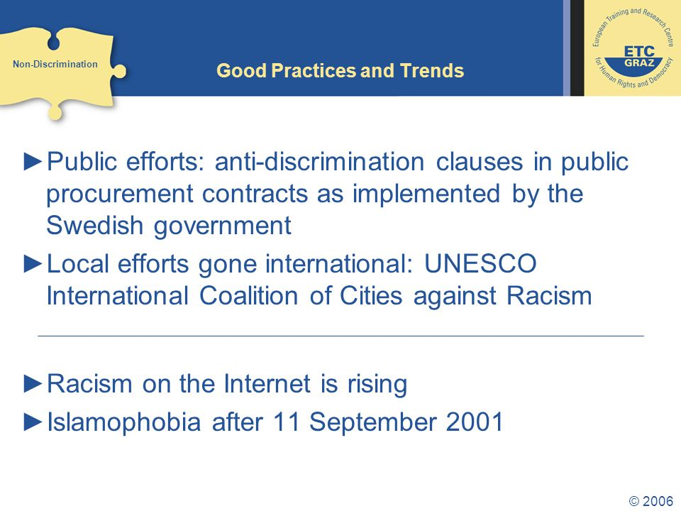 © 2006 Good Practices and Trends ►Public efforts: anti-discrimination clauses in public procurement contracts as implemented by the Swedish government ►Local efforts gone international: UNESCO International Coalition of Cities against Racism ►Racism on the Internet is rising ►Islamophobia after 11 September 2001 Non-Discrimination