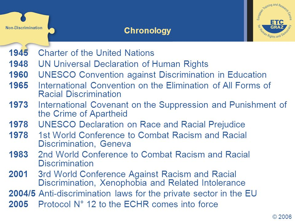 © 2006 Chronology 1945 Charter of the United Nations 1948 UN Universal Declaration of Human Rights 1960 UNESCO Convention against Discrimination in Education 1965 International Convention on the Elimination of All Forms of Racial Discrimination 1973 International Covenant on the Suppression and Punishment of the Crime of Apartheid 1978 UNESCO Declaration on Race and Racial Prejudice 1978 1st World Conference to Combat Racism and Racial Discrimination, Geneva 1983 2nd World Conference to Combat Racism and Racial Discrimination 20013rd World Conference Against Racism and Racial Discrimination, Xenophobia and Related Intolerance 2004/5 Anti-discrimination laws for the private sector in the EU 2005Protocol N° 12 to the ECHR comes into force Non-Discrimination