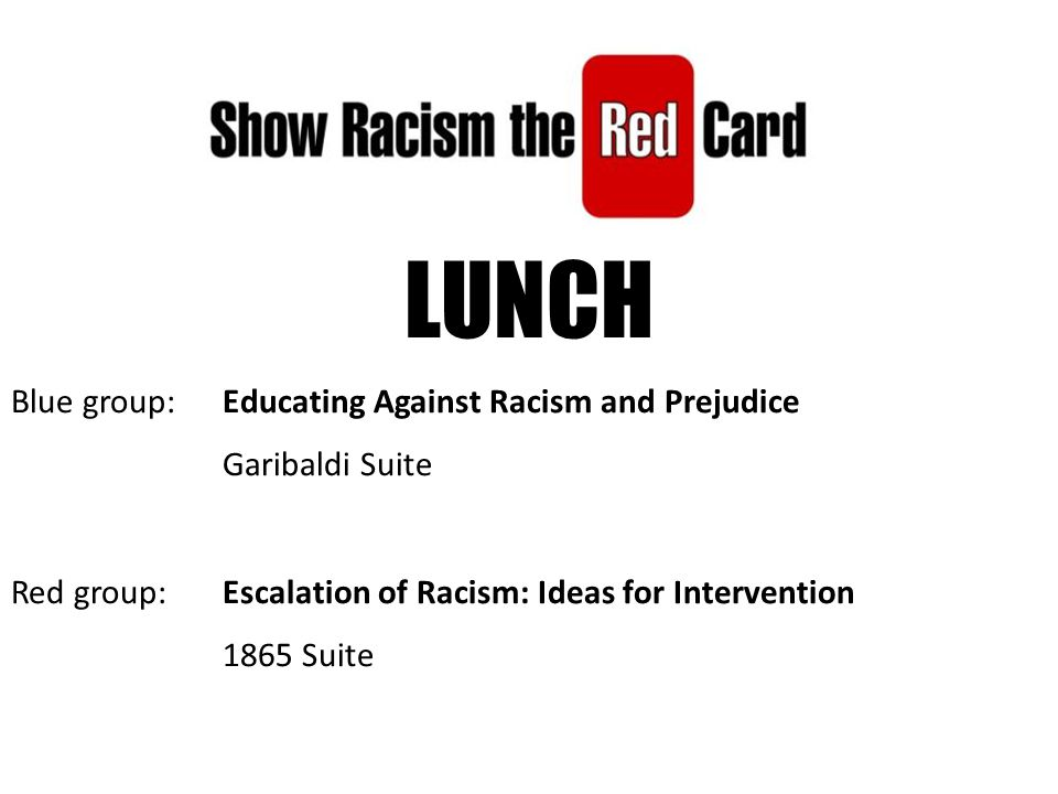 LUNCH Blue group: Educating Against Racism and Prejudice Garibaldi Suite Red group: Escalation of Racism: Ideas for Intervention 1865 Suite