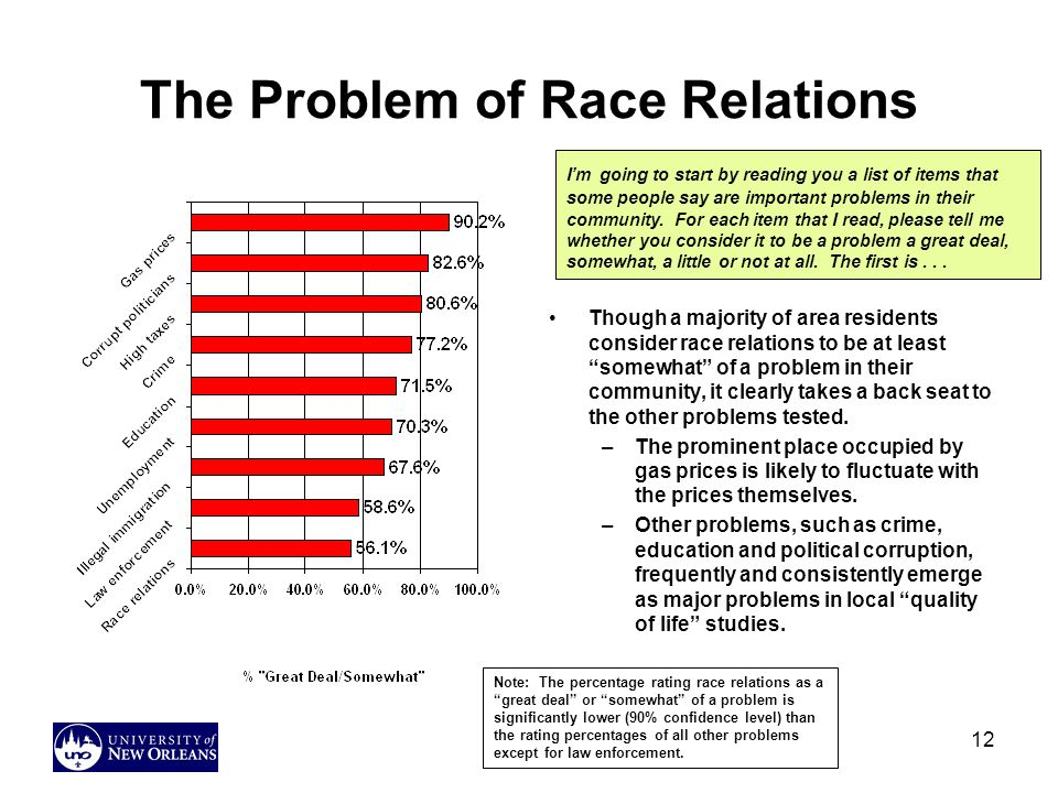 12 The Problem of Race Relations Though a majority of area residents consider race relations to be at least somewhat of a problem in their community, it clearly takes a back seat to the other problems tested.