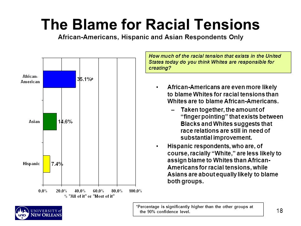 18 The Blame for Racial Tensions African-Americans, Hispanic and Asian Respondents Only African-Americans are even more likely to blame Whites for racial tensions than Whites are to blame African-Americans.