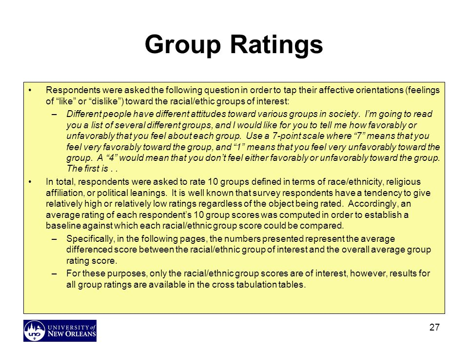 27 Group Ratings Respondents were asked the following question in order to tap their affective orientations (feelings of like or dislike ) toward the racial/ethic groups of interest: –Different people have different attitudes toward various groups in society.