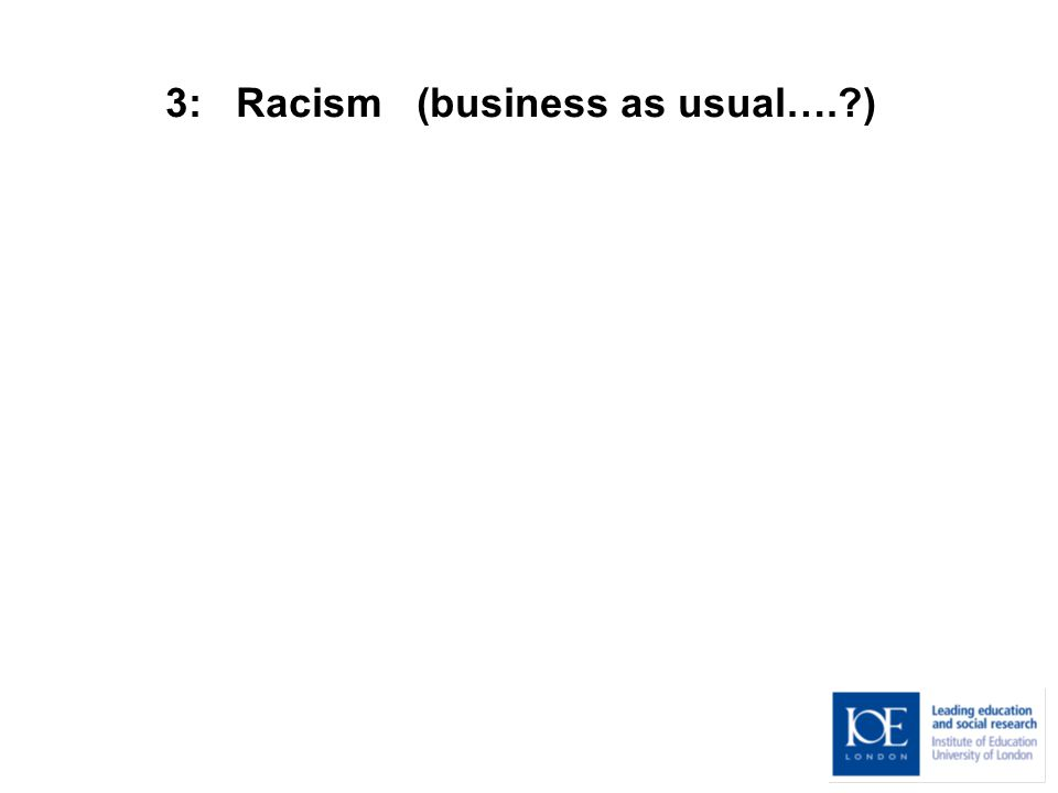 3: Racism (business as usual…. )