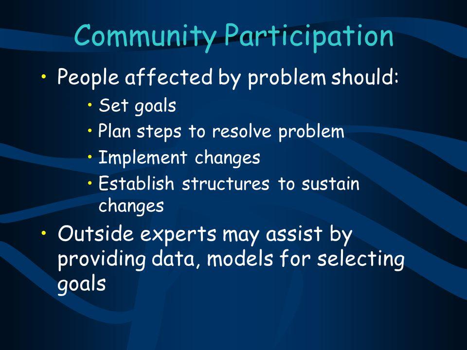 Community Participation People affected by problem should: Set goals Plan steps to resolve problem Implement changes Establish structures to sustain c