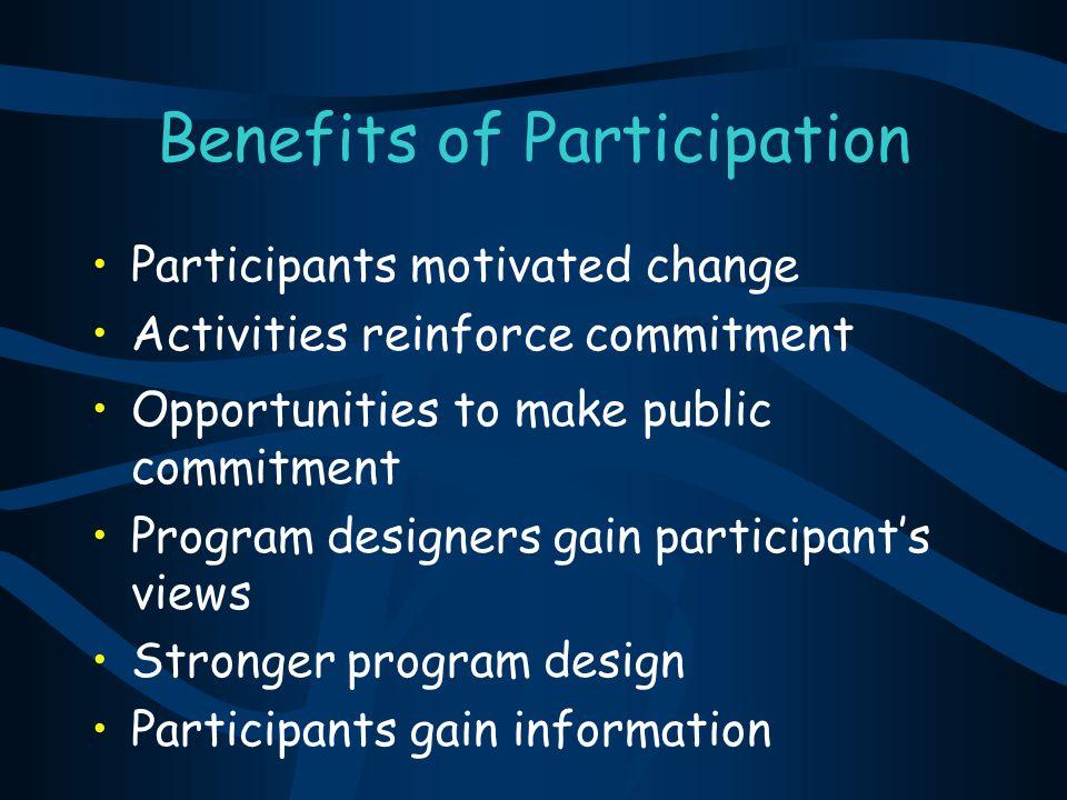 Benefits of Participation Participants motivated change Activities reinforce commitment Opportunities to make public commitment Program designers gain